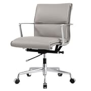 Meelano M347 Leather Executive Office Chair, Fixed Arms, Gray (347-GRY)