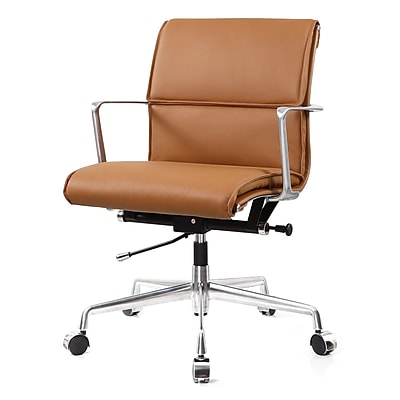 Meelano M347 Leather Executive Office Chair, Fixed Arms, Brown (347-BRN)