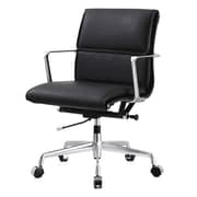 Meelano M347 Leather Executive Office Chair, Fixed Arms, Black (347-BLK)