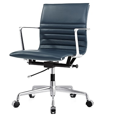 Meelano M346 Leather Executive Office Chair, Fixed Arms, Navy Blue (346-NVY)