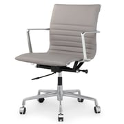 Meelano M346 Genuine Italian Leather Executive Office Chair, Grey (346-GRY)