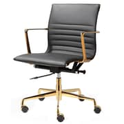 Meelano M346 Leather Executive Office Chair, Fixed Arms, Black (346-GD-BLK)