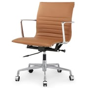 Meelano M346 Leather Executive Office Chair, Fixed Arms, Brown (346-BRN)