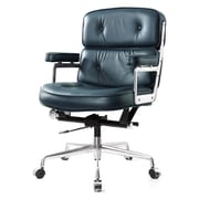 Meelano M340 Leather Executive Office Chair, Fixed Arms, Navy Blue (340-NVY)