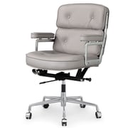 Meelano M340 Leather Executive Office Chair, Fixed Arms, Gray (340-GRY)