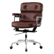 Meelano M340 Leather Executive Office Chair, Fixed Arms, Dark Brown (340-DBR)