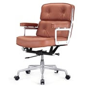 Meelano M340 Leather Executive Office Chair, Fixed Arms, Brown (340-BRN)