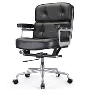 Meelano M340 Leather Executive Office Chair, Fixed Arms, Black (340-BLK)