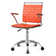 Meelano M356 Leather Managers Office Chair, Fixed Arms, Orange (356-ORN)