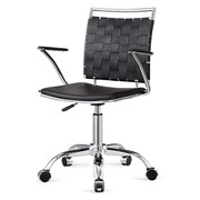 Meelano M356 Leather Managers Office Chair, Fixed Arms, Black (356-BLK)