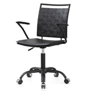 Meelano M356 Bonded Leather Mid-Back Office Chair, All Black  (356-DRK)