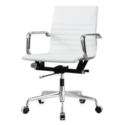 Meelano M348 Leather Executive Office Chair, Fixed Arms, White (348-WHI)