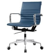 Meelano M348 Leather Executive Office Chair, Fixed Arms, Slate (348-SLT)