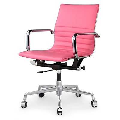 Meelano M348 Leather Executive Office Chair, Fixed Arms, Pink (348-PNK)