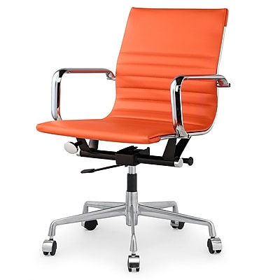 Meelano M348 Leather Executive Office Chair, Fixed Arms, Orange (348-ORN)