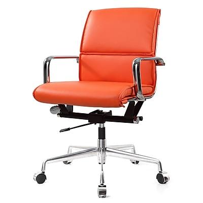Meelano M330 Genuine Vegan Leather executive Office Chair, Orange (330-ORN)