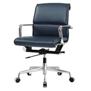 Meelano M330 Leather Executive Office Chair, Fixed Arms, Navy Blue (330-NVY)