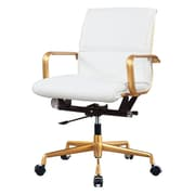 Meelano M330 Leather Executive Office Chair, Fixed Arms, White (330-GD-WHI)