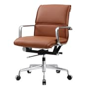 Meelano M330 Leather Executive Office Chair, Fixed Arms, Brown (330-BRN)