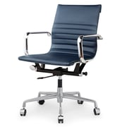 Meelano M348 Genuine Vegan Leather Executive Office Chair, Navy Blue (348-NVY)
