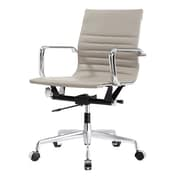 Meelano M348 Leather Executive Office Chair, Fixed Arms, Gray (348-GRY)