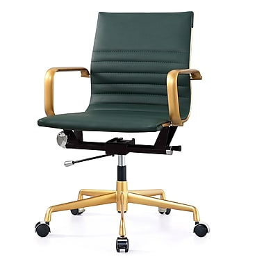 Meelano M348 Leather Executive Office Chair, Fixed Arms, Hunter Green (348-GD-GRN)