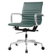 Meelano M348 Leather Executive Office Chair, Fixed Arms, Hunter Green (348-GRN)