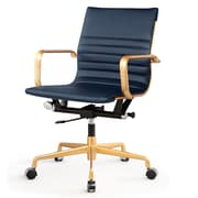 Meelano M348 Leather Executive Office Chair, Fixed Arms, Navy Blue (348-GD-NVY)