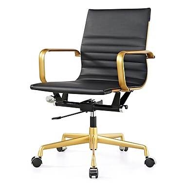 Meelano M348 Leather Executive Office Chair, Fixed Arms, Black (348-GD-BLK)