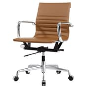 Meelano M348 Leather Executive Office Chair, Fixed Arms, Brown (348-BRN)