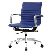 Meelano M348 Leather Executive Office Chair, Fixed Arms, Blue (348-BLU)