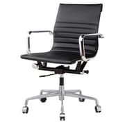 Meelano M348 Leather Executive Office Chair, Fixed Arms, Black (348-BLK)