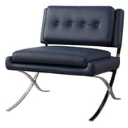 Meelano M300 Lounge Chair in Italian Leather with Stainless Steel Base (300-NVY)