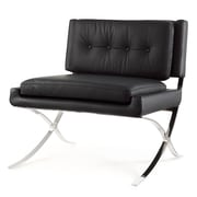 Meelano M300 Lounge Chair in Italian Leather with Stainless Steel Base (300-BLK)