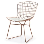 Meelano M355 Chair in Rose Gold and White Vegan Leather (Set Of Two) (355-RG-WHI)