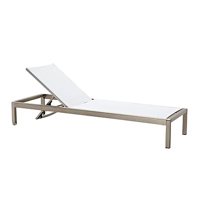Meelano M200 Outdoor Chaise Lounge Chair in White Upholstery and Aluminum Base (200-WHI)