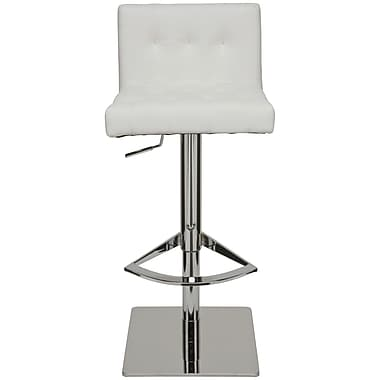 Nuevo Adjustable Height Swivel Bar Stool; White