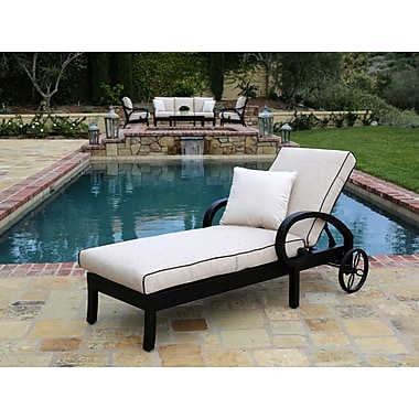 Sunset West Monterey Chaise Lounge w/ Cushion; Canvas Vellum
