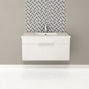 Cutler Kitchen & Bath Textures 36'' Single Floating Vanity; Contour White