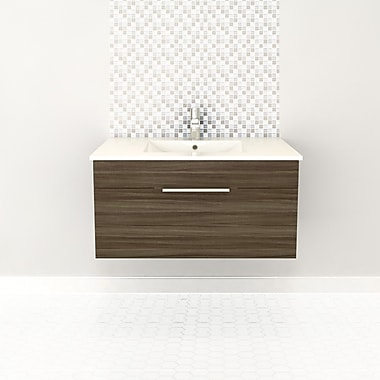 Cutler Kitchen & Bath Textures 36'' Single Floating Vanity; Driftwood