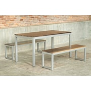 Elan Furniture Loft 3 Piece Dining Set; Gloss Silver
