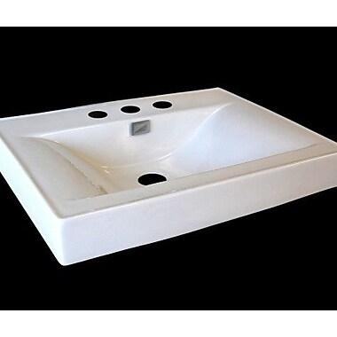 D'Vontz Vitreous China 24'' Pedestal Bathroom Sink w/ Faucet and Overflow