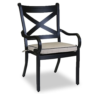 Sunset West Monterey Dining Arm Chair w/ Cushion; Canvas Spa