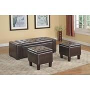 BestMasterFurniture Upholstered Storage Bedroom Bench (Set of 3); Espresso