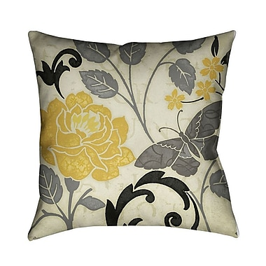 LauralHome Perfect Petals II Throw Pillow; Yellow