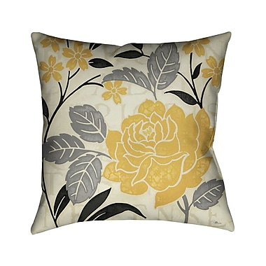 LauralHome Perfect Petals I Throw Pillow; Yellow