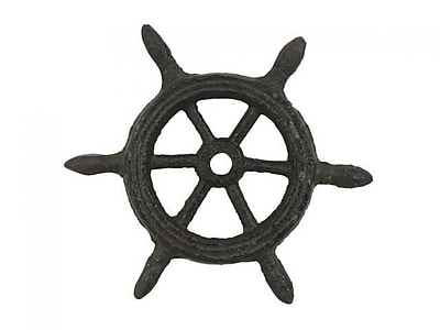 Handcrafted Nautical Decor Ship Wheel Decorative Paperweight; Cast Iron