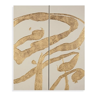Bassett Mirror Thoroughly Modern 'Gold Splashes' Painting Prints on Canvas (Set of 2)