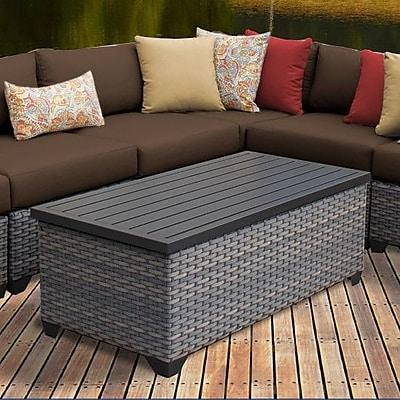 TK Classics Florence 8 Piece Rattan Sectional Set w/ Cushions; Cocoa