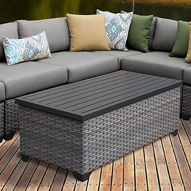 TK Classics Florence 8 Piece Rattan Sectional Set w/ Cushions; Gray